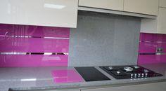 2-tone glass kitchen splashback and mirror stripes by CreoGlass Design (London,UK) #kitchen