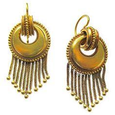 Victorian Gold Fringe Dangle Earrings