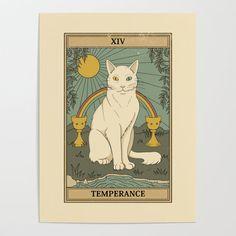 Temperance Tarot Card, Tarot Card Decks, Tarot Card Art, Tarot Tattoo, Collage Des Photos, Tarot Astrology, Tarot Card Meanings, Cat Posters, Cat Cards
