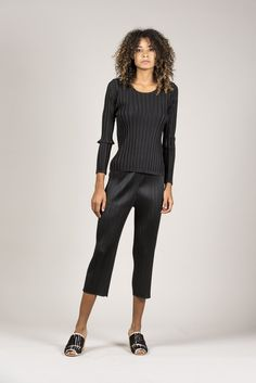 Basic Crop Pants, Black by Pleats Please by Issey Miyake