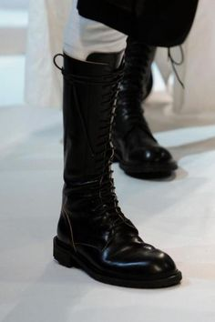 Ann Demeulemeester military leather lace up boots