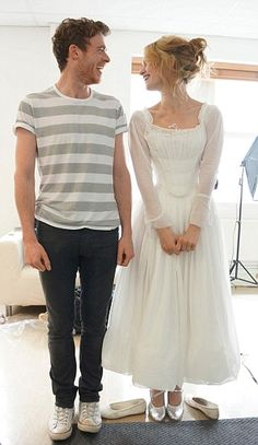 Wow - looks like a toile of Lily James' everyday Ella dress.  Very pretty in plain white.