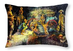 """Late Dinner - Cold Horse throw pillow shown in a 20"""" x 14"""" offering.  The original is hand drawn using pen.  This is also available in framed prints or other media to match your needs.  See website for all options for this print."""