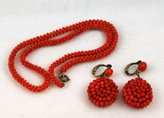 Victorian Woven Coral Necklace and Earrings - Red coral is supposed to quench the fiery personalities of people born under the influence of the planet Mars.