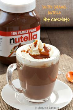 Salted #Caramel #Nutella Hot Chocolate, the ultimate #chocolate drink!