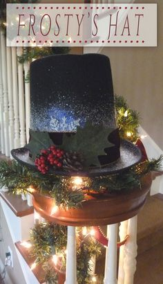 Adorable Frosty Hat that's a cinch to make!   www.madefrompinterest.net  #christmas