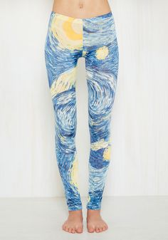 Sitting, Painting, Wishing Leggings. Let these lightweight leggings send you into a delightful daydream of painterly possibilities! #blue #modcloth