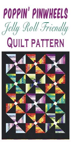 I love how these brightly coloured pinwheels pop against the dark background. Quilting For Beginners, Quilting Tips, Quilting Tutorials, Quilting Projects, Quilting Designs, Barn Quilt Patterns, Modern Quilt Patterns, Applique Patterns, Jellyroll Quilts