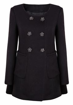 Black Round Neck Flowers Button Pockets Flare Hem Coat S.Kr.708.90
