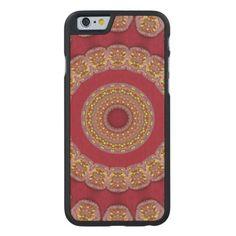#Red #Gold #Yellow #rosettes #Mandala #Carved® #Maple #iPhone 6 #Slim #Case | #Zazzle