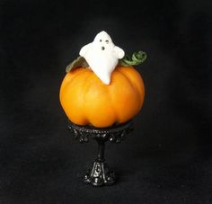 Cute Miniature Pumpkin with Ghost for Your Dollhouse by DinkyWorld at Etsy
