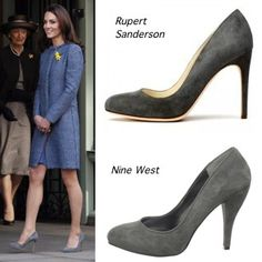 Kate Middleton inspired.  Nine West Finney in Grey Suede $88.95 (Orig: Rupert Sanderson Malone Pumps)