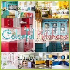 Over 30 Colorful Kitchens.. link for more kitchen Decor ideas: http://www.thecottagemarket.com/2013/06/over-30-colorful-kitchens.html **personally I'm not a big fan of the bright reds, oranges & the dark mustard yellow colors for cabinets and/or walls.. accent of these colors okay, but Not primary color in kitchen. ~ Ruth **
