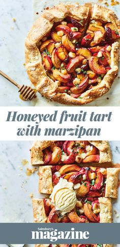 Our honeyed fruit tart recipe is packed with pockets of melting marzipan and a fragrant sprinkle of fresh thyme. This easy free-form tart is the perfect dessert for stress-free entertaining Easy Tart Recipes, Fruit Recipes, Sweet Recipes, Cooking Recipes, Healthy Recipes, Recipies, Quiches, Marzipan Recipe, Happy Cook