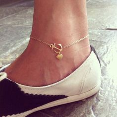 Sideways anchor with heart charm anklet 14K gold filled chain, chic and cute, gift for her