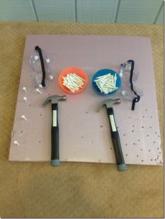 Foam board and hammering, fine motor activities, preschool, preschool fine motor, preschool construction, tools, golf tees