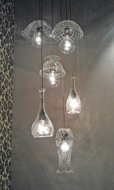 Lamps made from old glass bowls, vases and decanters. Seen at Glasets Hus in Limmared. Glass Garden Art, Glass Art, Glass Lamps, Cut Glass, Suspension Diy Luminaire, Lamp Light, Light Up, Luminaire Original, Diy Light Fixtures