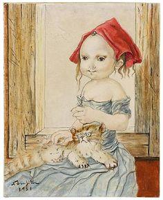 Tsuguharu Foujita - Young girl with cat