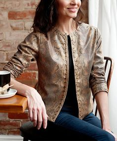 Love this Donna Salyers' Fabulous-Furs Brown Snake Open Moto Jacket - Plus Too by Donna Salyers' Fabulous-Furs on #zulily! #zulilyfinds
