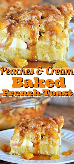 Peaches and Cream Baked French Toast with peaches, cream cheese, and French bread soaked overnight is a perfect seasonal breakfast everyone's sure to love. Toast Peaches and Cream Baked French Toast Peach French Toast, French Toast Bake, Cream Cheese French Toast, Baked French Toast Overnight, French Toast Recipes, Overnight French Toast Casserole, Cream Cheese Breakfast, French Bread French Toast, French Toast Muffins