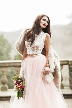 Two piece wedding dress with pink tulle skirt and lace crop top / http://www.deerpearlflowers.com/two-piece-wedding-dresses/