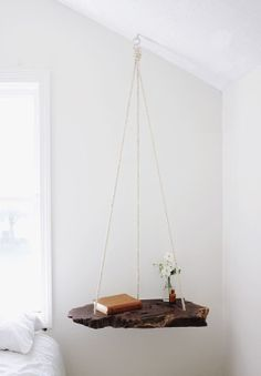 Interior design inspirations, white bedroom diy wood hanged, italian bark