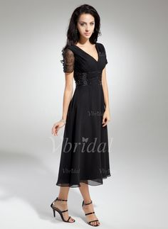 Mother of the Bride Dresses - $126.35 - A-Line/Princess V-neck Tea-Length Chiffon Mother of the Bride Dress With Ruffle Beading (00805008570)