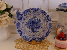 Blue Delft  Basket of Flowers Dollhouse Miniature Plate