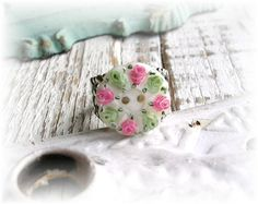 I LOVE LOVE LOVE THIS! Vintage Mother of Pearl Button Ring Shabby Chic