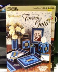 Items similar to Plastic Canvas Touch Of Gold Desk Set VGC on Etsy Gold Desk, Leaflets, Desk Set, Touch Of Gold, Canvas Ideas, Plastic Canvas Patterns, Craft Ideas, Unique Jewelry, Handmade Gifts