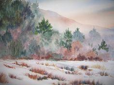 watercolor winter scenes   Maine Morning 16 x 20 framed original watercolor yupo paper SOLD
