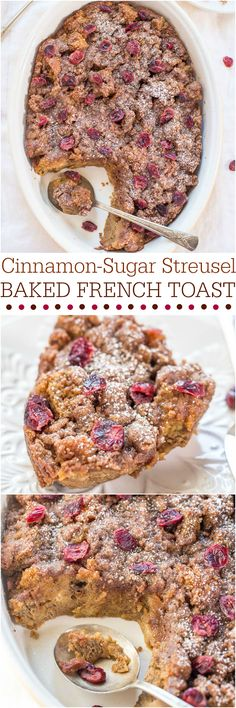Cinnamon-Sugar Streusel Baked French Toast - The perfect breakfast! No stovetop flipping and you can make it ahead of time!! It's a keeper!!