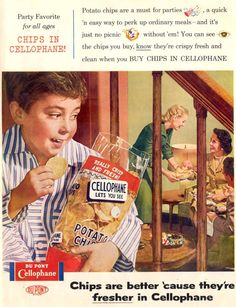 Du Pont Cellophane Potato Chips Boy 1955