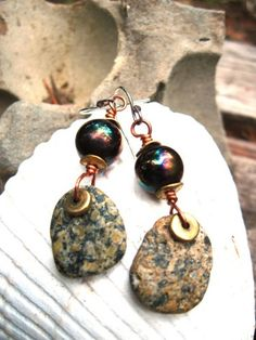 Speckled Om Rock dangle beach stone earrings | JanEOjewelry - Jewelry on ArtFire