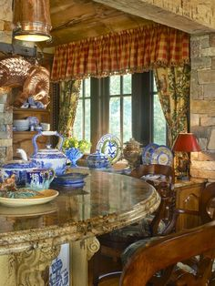 Nancy's Daily Dish: More Traditional Red White & Blue Rooms with Transferware