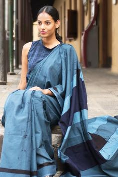 Denim Blocks saree is 100% cotton and created using battik craft.Suitable to wear for a special occasion at day or night time and best worn with minimal jewelery.