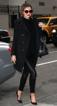 Trench coat, leather skinny pants, and black heels. Copying this outfit
