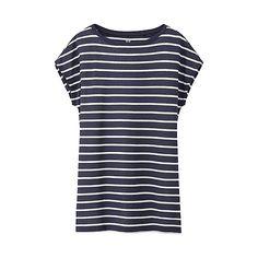 WOMEN Modal Linen Blended Boat Neck Short Sleeve T-Shirt�-�UNIQLO�UK�Online�fashion�store