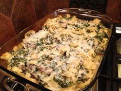 Cheese tortellini with spinach casserole