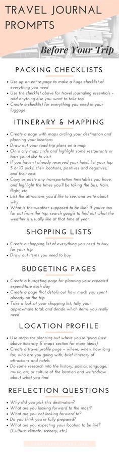 Travel Journaling Prompts - For before the trip. Ideas for art or travel journal or scrapbook pages before you leave for your vacation.