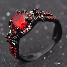 Charmingly Elegant Black Gold Ruby Ring ($16) ❤ liked on Polyvore featuring jewelry, rings, ruby ring, gold charm jewelry, yellow gold charms, charm rings and ruby jewelry