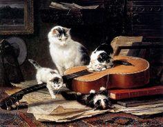 pratiquer sur le soleil de guitare de Henriette Ronner Knip (1821-1909, Netherlands)