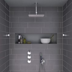 i like the shape – horizontal and roomy – of this shower niche … Ich mag die Form – horizontal und geräumig – dieser Duschnische Mehr Grey Bathroom Tiles, Ensuite Bathrooms, Laundry In Bathroom, Bathroom Renos, Basement Bathroom, Shower Tiles, Bathroom Ideas, Small Bathrooms, Bathroom Niche