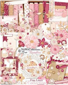"""In creating my """"Fine Linen"""" Collection I have tried to capture the feeling of the gatherings of friends and family that brought out My Mom's """"special napkins"""".   Our Fine Linen Collection at Nitwit Collections™ is a beautiful collection that is full of flowers, gorgeous papers, ribbons, lace, and all the elements to be sure to create truly unique and stunning layouts and projects!"""