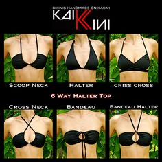 Very Cool! 6 ways to wear a basic triangle bikini top!