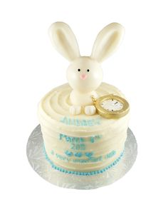 Bunny and Pocket Watch buttercream cake with fondant topper