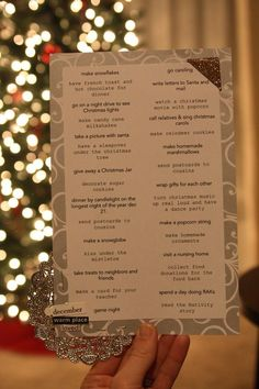 Christmas fun list - things to check off during the month of December...what a great idea.