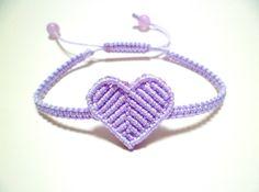 Laveder Purple Macrame Heart Square Knot Friendship Cord Bracelet
