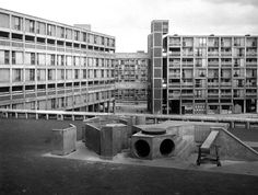 Park Hill estate, Sheffield, 1962 The same shapes appear in brutalist playgrounds around the country: hexagons, ramps, holes in walls. The children would have had a very physical encounter with the concrete – crawling over it, feeling it under their hands, grazing their knees. It's a very different way to experience brutalism than the way most adults did. Photograph: Arch Press Archive/RIBA
