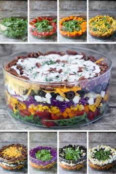 A pretty Layered Rainbow Salad topped with crunchy toasted pecans and bacon, drenched in a tangy buttermilk poppy seed dressing. by aida Potluck Recipes, Healthy Dinner Recipes, Cooking Recipes, Healthy Appetizers, Vegetarian Meals, Healthy Cooking, Healthy Eats, Vegan Recipes, Snack Recipes